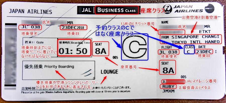 JAL国際線ボーディングパスには様々な情報が記載されている